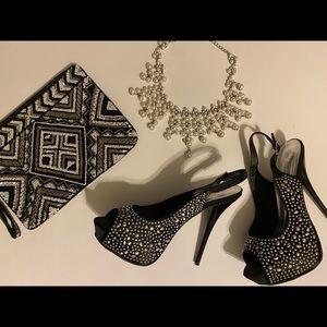 Black Beaded Slingback Platform Heels - Size 7.5
